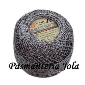 YarnArt Camellia kolor ciemny szary/srebrny 424