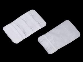 Haftki dwurzędowe do staników przedłużające bez gumki szerokość 30 mm kolor biały