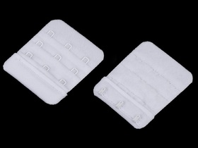 Haftki trzyrzędowe do staników przedłużające bez gumki szerokość 50 mm kolor biały