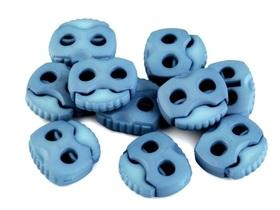 Stopery do sznurka z dwiema dziurkami 20x20 kolor niebieski wrzos
