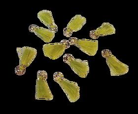 Frędzelek mini z oczkiem długość 3 cm kolor jasny zielony