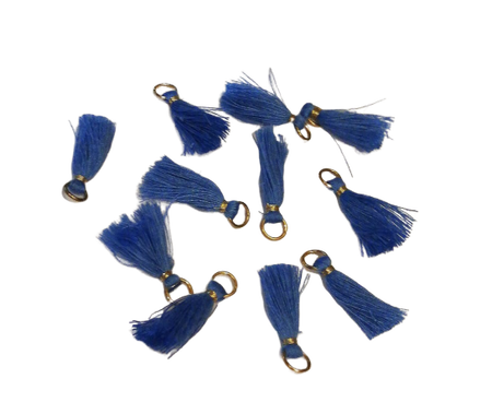 Frędzelek mini z oczkiem długość 3 cm kolor niebieski (1)