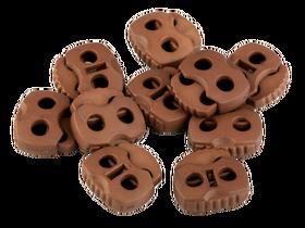 Stopery do sznurka z dwiema dziurkami 20x20 kolor brązowy