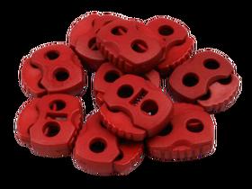 Stopery do sznurka z dwiema dziurkami 20x20 kolor ciemny czerwony