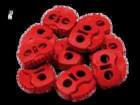 Stopery do sznurka z dwiema dziurkami 20x20 kolor czerwony