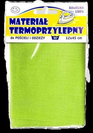 Materiał Termoprzylepny bawełniany 12 x 45 cm kolor zielony (1)