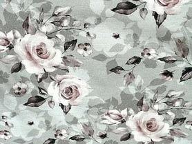 Dzianina single JERSEY wzór róże na szarości