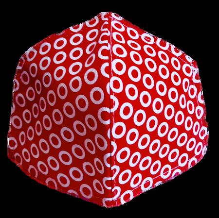Maseczka Ochronna profilowana DZIECIĘCA wzór kółeczka na czerwieni (1)
