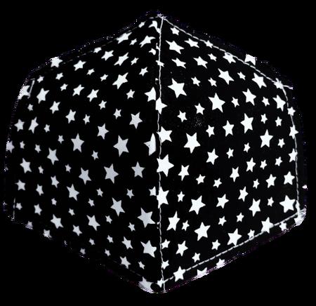 Maseczka Ochronna profilowana wzór gwiazdki na czarnym (1)