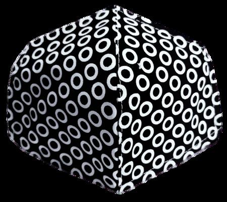 Maseczka Ochronna profilowana wzór kółeczka na czarnym (1)