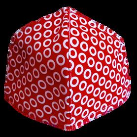 Maseczka Ochronna profilowana wzór kółeczka na czerwieni