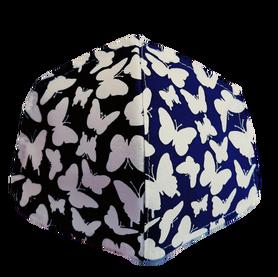 Maseczka Ochronna profilowana wzór motylki na granacie