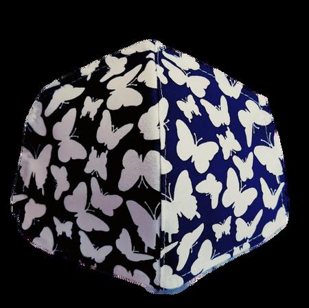 Maseczka Ochronna profilowana wzór motylki na granacie (1)