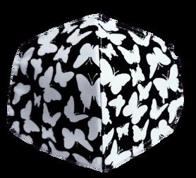 Maseczka Ochronna profilowana wzór motylki na czarnym