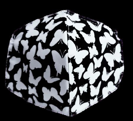 Maseczka Ochronna profilowana wzór motylki na czarnym (1)