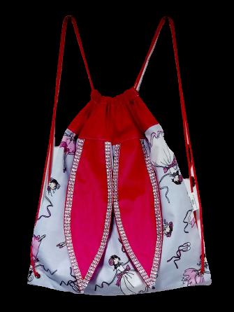 Worek - plecak USZAK z cyrkoniami wzór baletnice (1)