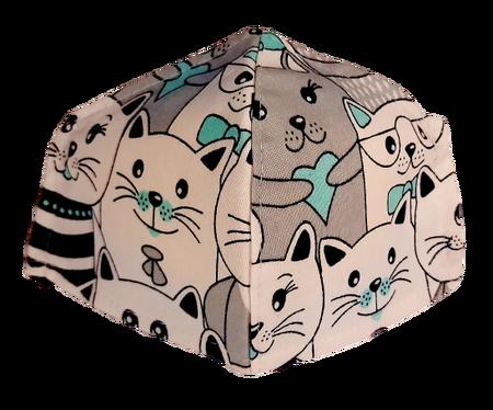 Maseczka Ochronna profilowana DZIECIĘCA wzór koty z miętą (1)