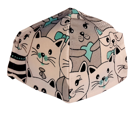Maseczka Ochronna profilowana wzór koty z miętą (1)