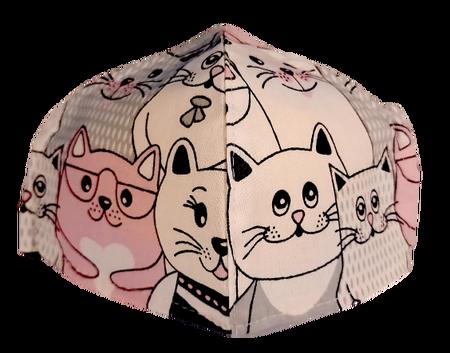 Maseczka Ochronna profilowana DZIECIĘCA wzór koty z różem (1)