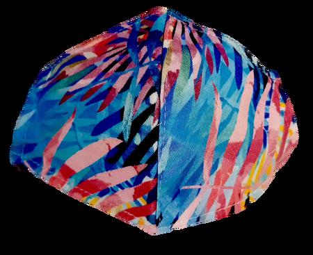 Maseczka Ochronna profilowana DZIECIĘCA dzianinowa wzór neonowe liście (1)