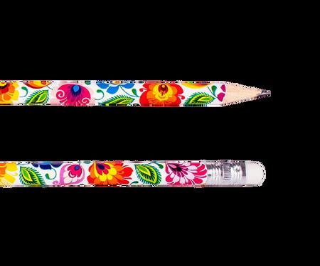 Ołówek z gumką - łowicki biały (1)