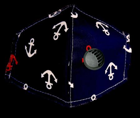 Maseczka Ochronna profilowana wzór kotwice z zaworkiem filtrującym (1)