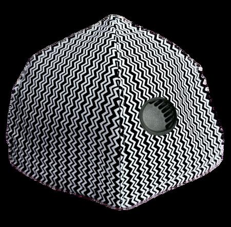 Maseczka Ochronna profilowana wzór mini zygzak z zaworkiem filtrującym (1)