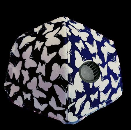 Maseczka Ochronna profilowana wzór motyle z zaworkiem filtrującym (1)