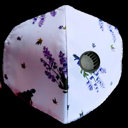 Maseczka Ochronna profilowana wzór lawenda z zaworkiem filtrującym (1)