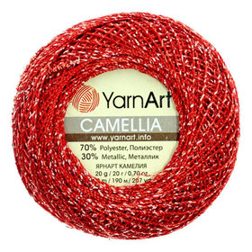 YarnArt Camellia kolor czerwony/srebrny 416