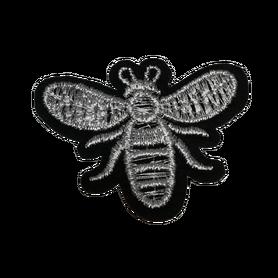 Naprasowanka / aplikacja TERMO 5 x 3,8 cm pszczoła srebrna