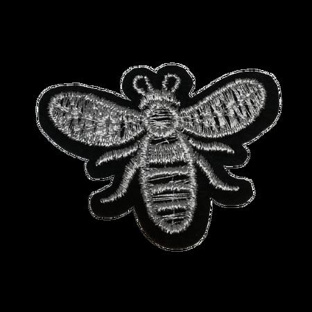 Naprasowanka / aplikacja TERMO 5 x 3,8 cm pszczoła srebrna (1)