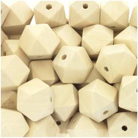 Koraliki drewniane nielakierowane w kształcie diamentu 20x20 mm