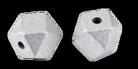 Koraliki drewniane lakierowane srebrne w kształcie diamentu 12x16  mm