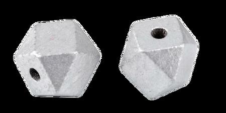 Koraliki drewniane lakierowane srebrne w kształcie diamentu 12x16  mm  (1)