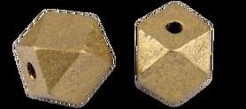 Koraliki drewniane lakierowane złote w kształcie diamentu 12x16  mm