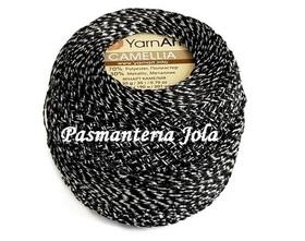YarnArt Camellia kolor czarny/srebrny 412