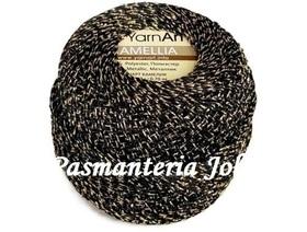 YarnArt Camellia kolor czarny/złoty 413