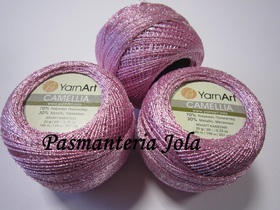 YarnArt Camellia kolor różowy/srebrny 415