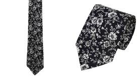 Krawat 100% bawełna wzór kwiatowy