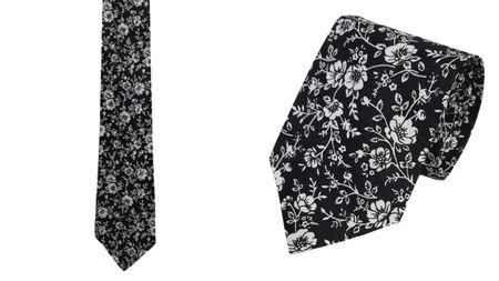 Krawat 100% bawełna wzór kwiatowy (1)