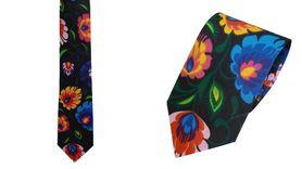 Krawat 100% bawełna wzór łowicki