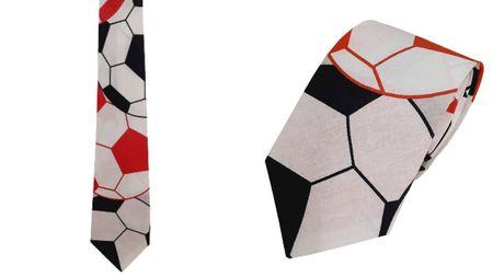 Krawat 100% bawełna wzór piłkarski (1)