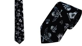 Krawat 100% bawełna wzór piracki