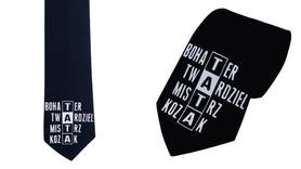 Krawat 100% bawełna z nadrukiem dla taty