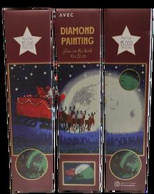 Haft diamentowy 40 x 30 cm (świeci w ciemności) wzór MIKOŁAJ NA SANIACH