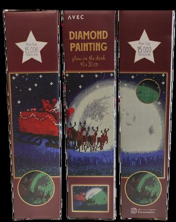 Haft diamentowy 40 x 30 cm (świeci w ciemności) wzór MIKOŁAJ NA SANIACH (1)