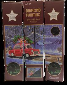 Haft diamentowy 40 x 30 cm (świeci w ciemności) wzór MIKOŁAJ W AUCIE